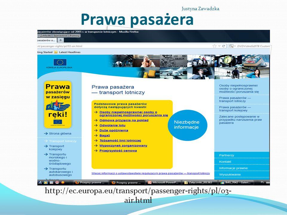 Prawa pasażera http://ec.europa.eu/transport/passenger-rights/pl/03- air.html Justyna Zawadzka