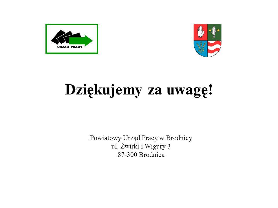 Dziękujemy za uwagę! Powiatowy Urząd Pracy w Brodnicy ul. Żwirki i Wigury 3 87-300 Brodnica
