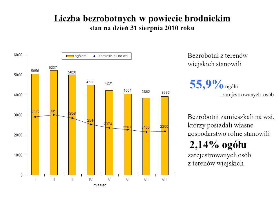 Liczba bezrobotnych w powiecie brodnickim stan na dzień 31 sierpnia 2010 roku Bezrobotni z terenów wiejskich stanowili 55,9% ogółu zarejestrowanych osób Bezrobotni zamieszkali na wsi, którzy posiadali własne gospodarstwo rolne stanowili 2,14% ogółu zarejestrowanych osób z terenów wiejskich