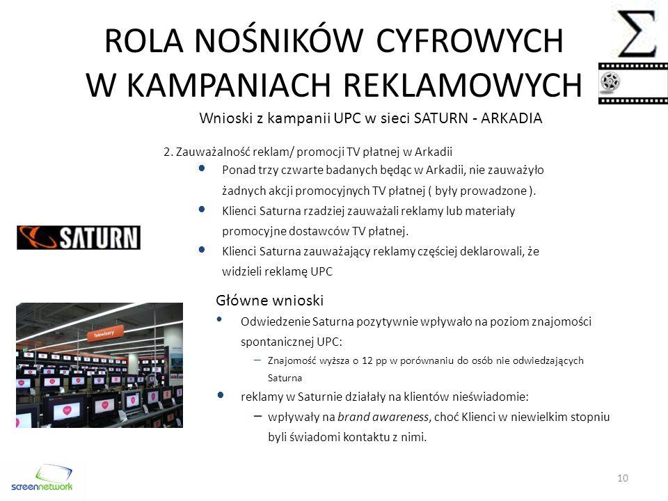 ROLA NOŚNIKÓW CYFROWYCH W KAMPANIACH REKLAMOWYCH Wnioski z kampanii UPC w sieci SATURN - ARKADIA 2.