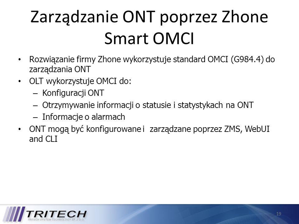 19 Zarządzanie ONT poprzez Zhone Smart OMCI Rozwiązanie firmy Zhone wykorzystuje standard OMCI (G984.4) do zarządzania ONT OLT wykorzystuje OMCI do: –
