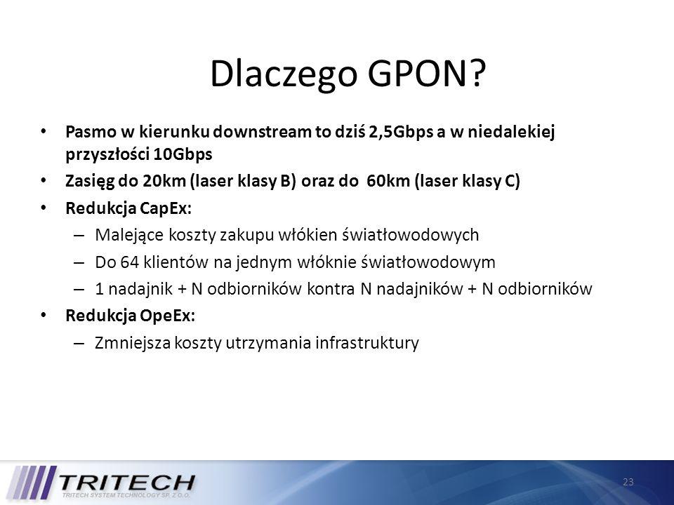23 Dlaczego GPON? Pasmo w kierunku downstream to dziś 2,5Gbps a w niedalekiej przyszłości 10Gbps Zasięg do 20km (laser klasy B) oraz do 60km (laser kl