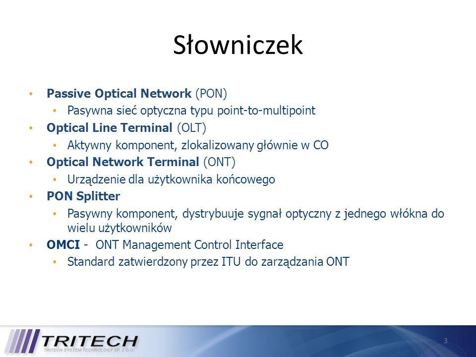 3 Słowniczek Passive Optical Network (PON) Pasywna sieć optyczna typu point-to-multipoint Optical Line Terminal (OLT) Aktywny komponent, zlokalizowany