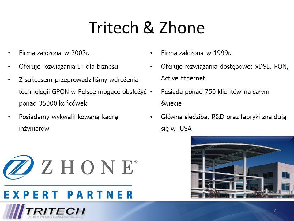 8 Tritech & Zhone Firma założona w 1999r. Oferuje rozwiązania dostępowe: xDSL, PON, Active Ethernet Posiada ponad 750 klientów na całym świecie Główna