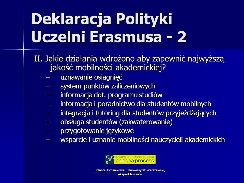 Jolanta Urbanikowa - Uniwersytet Warszawski, ekspert boloński Deklaracja Polityki Uczelni Erasmusa - 2 II. Jakie działania wdrożono aby zapewnić najwy
