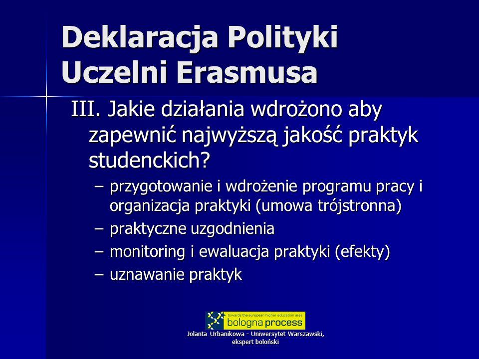 Jolanta Urbanikowa - Uniwersytet Warszawski, ekspert boloński Deklaracja Polityki Uczelni Erasmusa III. Jakie działania wdrożono aby zapewnić najwyższ