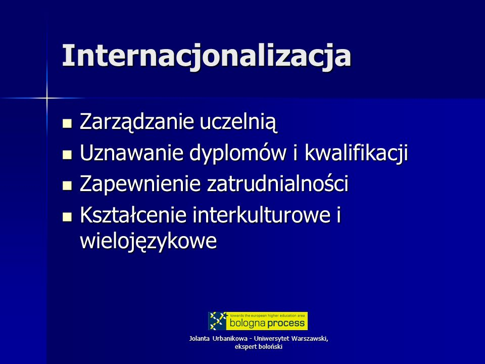 Jolanta Urbanikowa - Uniwersytet Warszawski, ekspert boloński Internacjonalizacja Zarządzanie uczelnią Zarządzanie uczelnią Uznawanie dyplomów i kwalifikacji Uznawanie dyplomów i kwalifikacji Zapewnienie zatrudnialności Zapewnienie zatrudnialności Kształcenie interkulturowe i wielojęzykowe Kształcenie interkulturowe i wielojęzykowe