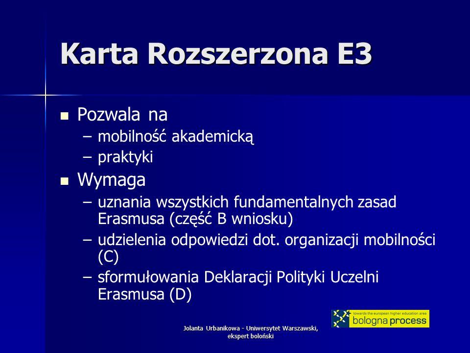 Jolanta Urbanikowa - Uniwersytet Warszawski, ekspert boloński Karta Rozszerzona E3 Pozwala na – –mobilność akademicką – –praktyki Wymaga – –uznania wszystkich fundamentalnych zasad Erasmusa (część B wniosku) – –udzielenia odpowiedzi dot.