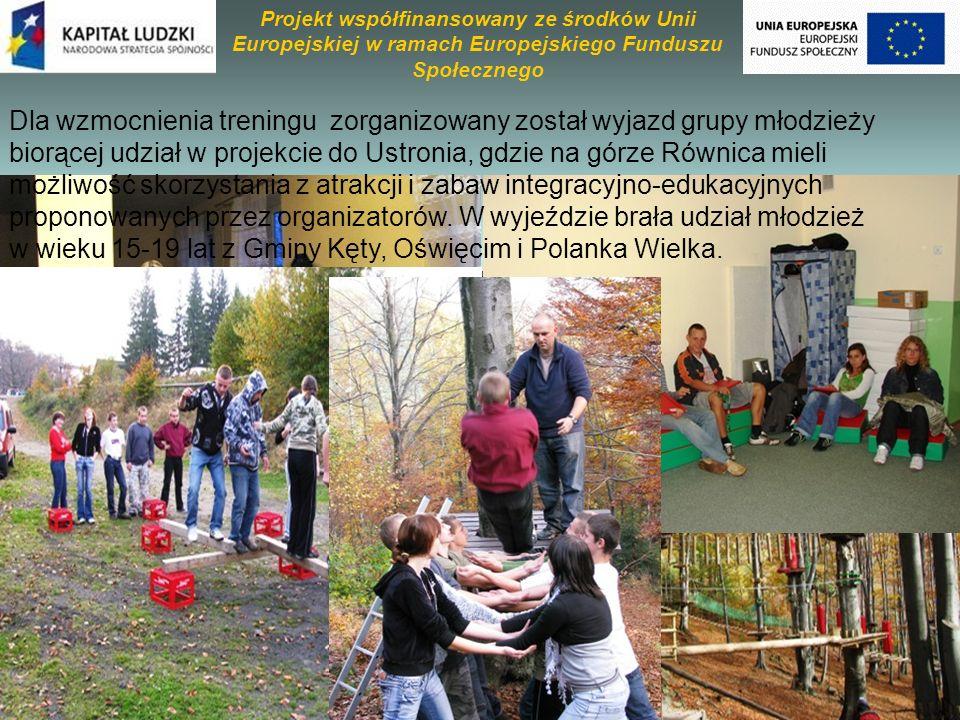Dla wzmocnienia treningu zorganizowany został wyjazd grupy młodzieży biorącej udział w projekcie do Ustronia, gdzie na górze Równica mieli możliwość skorzystania z atrakcji i zabaw integracyjno-edukacyjnych proponowanych przez organizatorów.