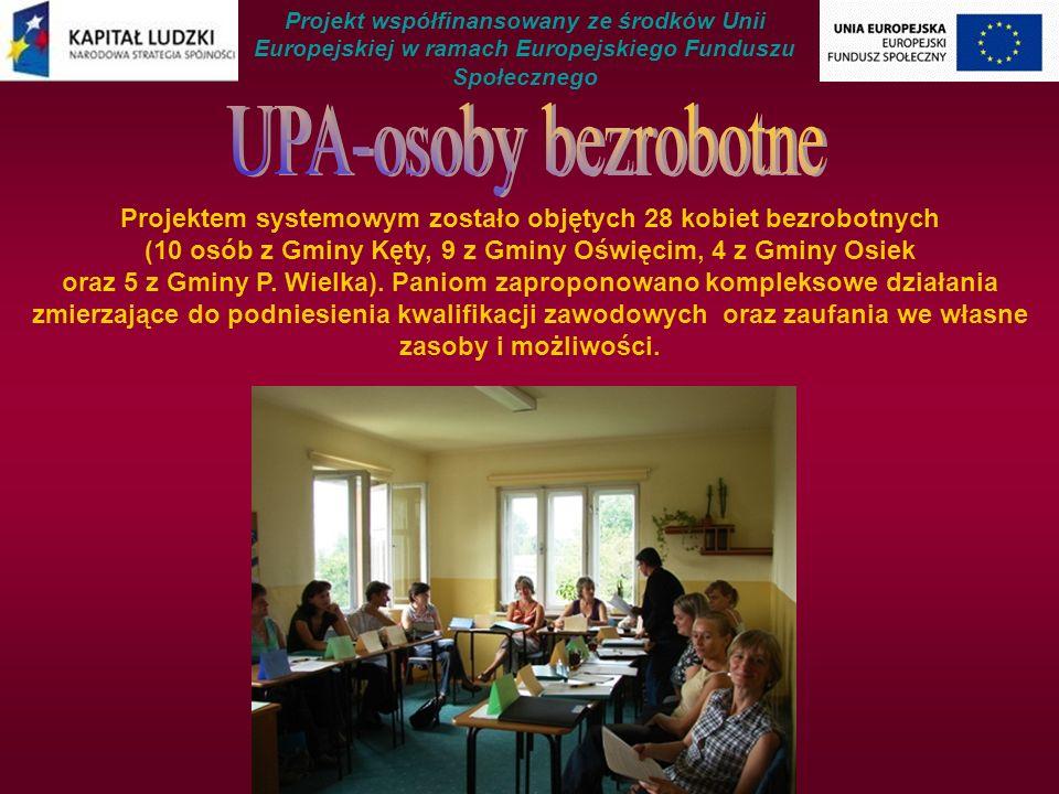 Projektem systemowym zostało objętych 28 kobiet bezrobotnych (10 osób z Gminy Kęty, 9 z Gminy Oświęcim, 4 z Gminy Osiek oraz 5 z Gminy P.