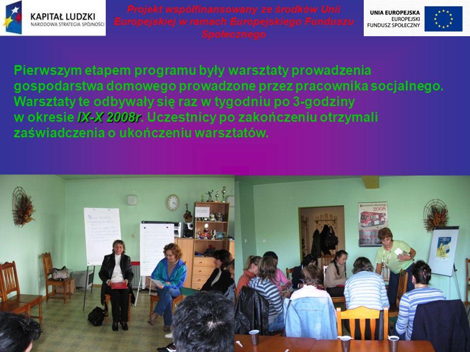 IX-X 2008r Pierwszym etapem programu były warsztaty prowadzenia gospodarstwa domowego prowadzone przez pracownika socjalnego.