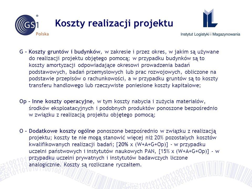 Koszty realizacji projektu G – Koszty gruntów i budynków, w zakresie i przez okres, w jakim są używane do realizacji projektu objętego pomocą; w przyp