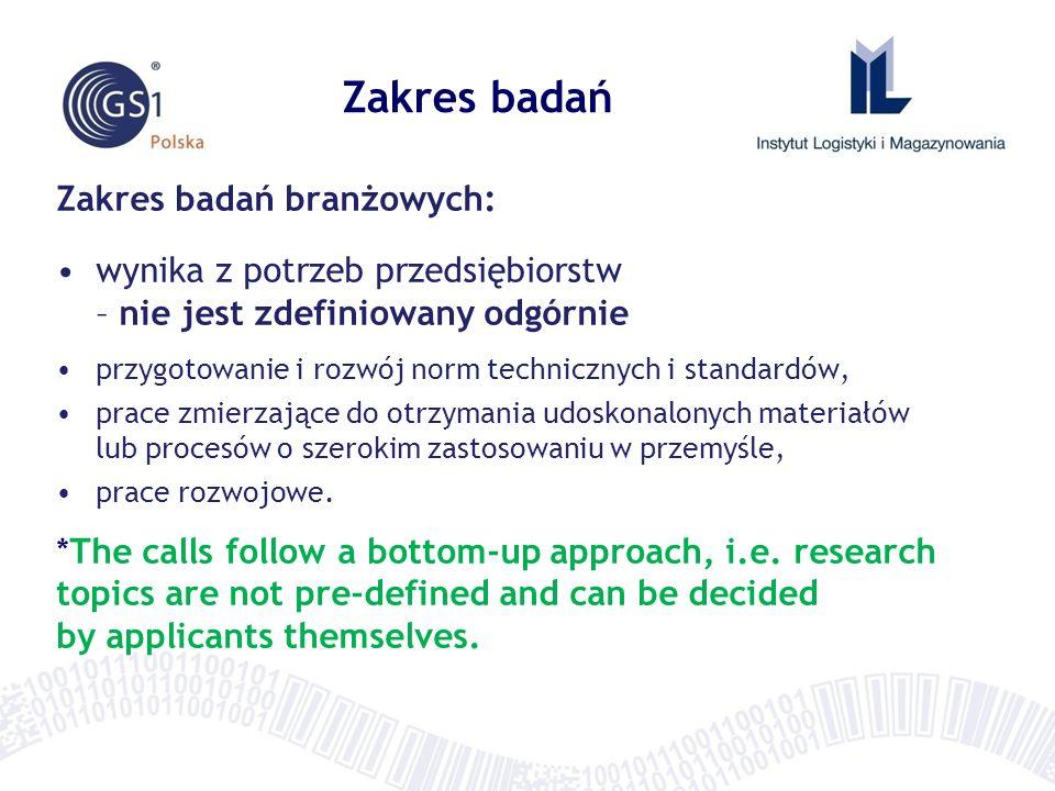 Zakres badań branżowych: wynika z potrzeb przedsiębiorstw – nie jest zdefiniowany odgórnie przygotowanie i rozwój norm technicznych i standardów, prac