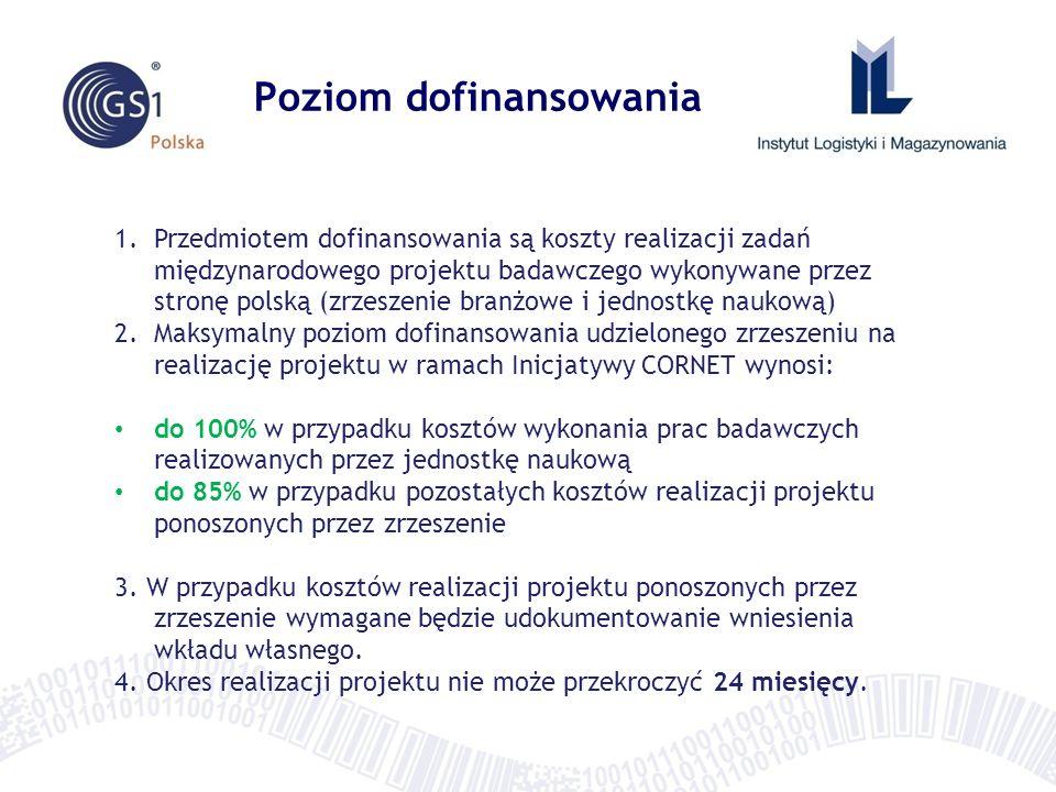 Poziom dofinansowania 1.Przedmiotem dofinansowania są koszty realizacji zadań międzynarodowego projektu badawczego wykonywane przez stronę polską (zrz