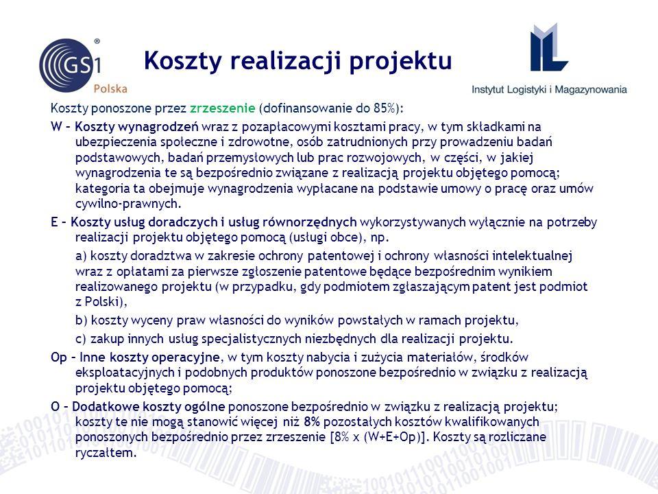 Koszty realizacji projektu Koszty ponoszone przez zrzeszenie (dofinansowanie do 85%): W – Koszty wynagrodzeń wraz z pozapłacowymi kosztami pracy, w ty
