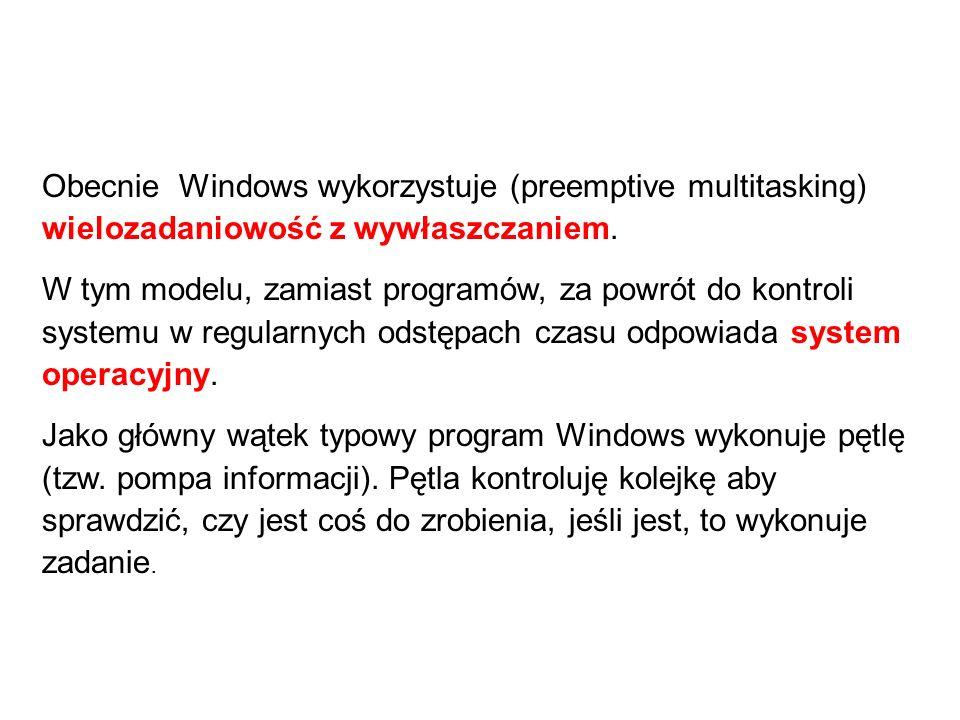 Obecnie Windows wykorzystuje (preemptive multitasking) wielozadaniowość z wywłaszczaniem. W tym modelu, zamiast programów, za powrót do kontroli syste