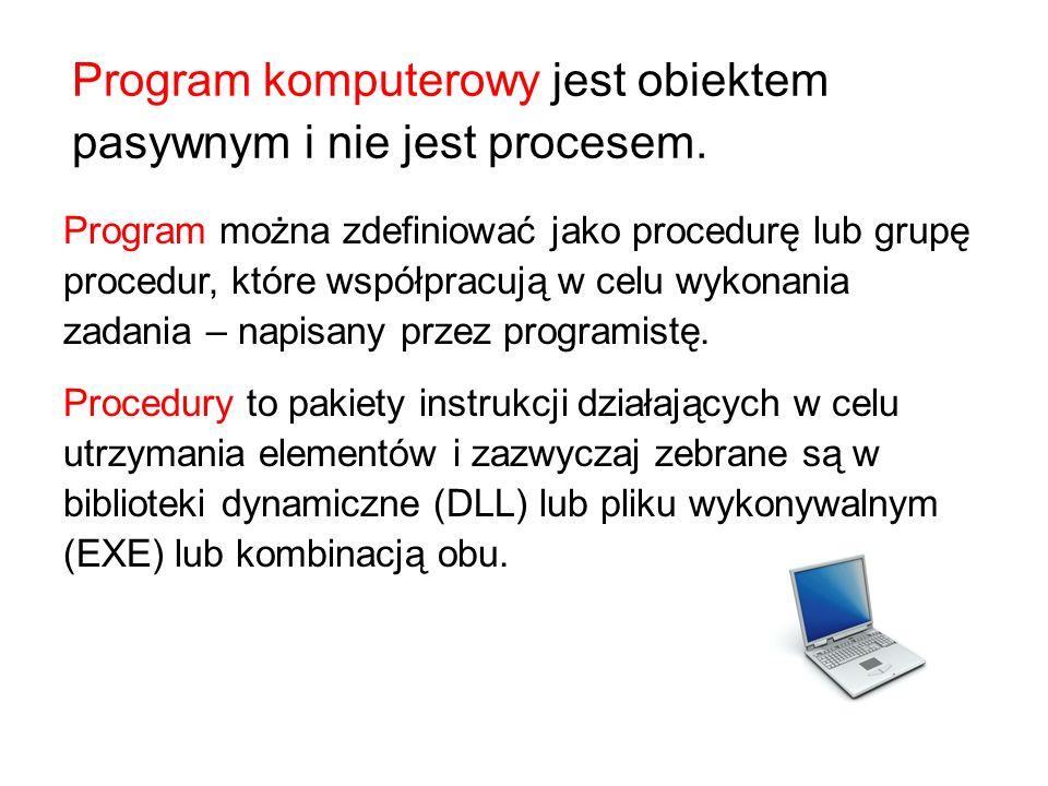 Program komputerowy jest obiektem pasywnym i nie jest procesem. Program można zdefiniować jako procedurę lub grupę procedur, które współpracują w celu