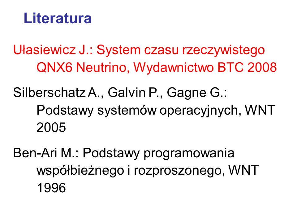 Literatura Ułasiewicz J.: System czasu rzeczywistego QNX6 Neutrino, Wydawnictwo BTC 2008 Silberschatz A., Galvin P., Gagne G.: Podstawy systemów opera