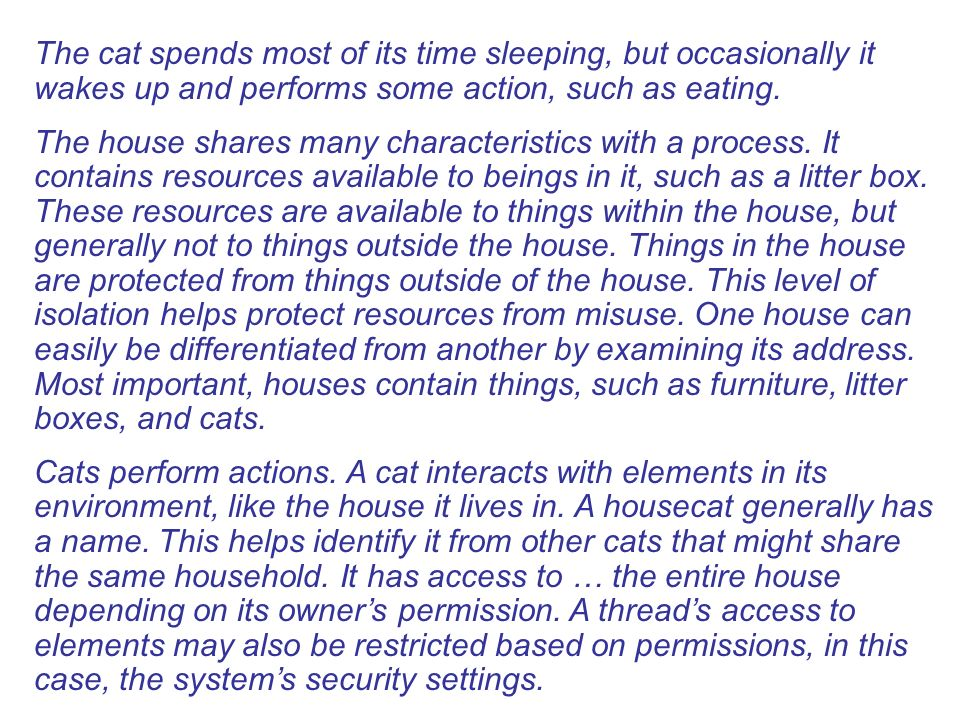 The cat spends most of its time sleeping, but occasionally it wakes up and performs some action, such as eating. The house shares many characteristics