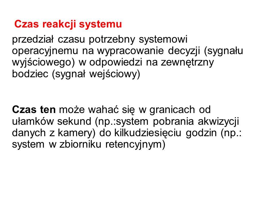 przedział czasu potrzebny systemowi operacyjnemu na wypracowanie decyzji (sygnału wyjściowego) w odpowiedzi na zewnętrzny bodziec (sygnał wejściowy) C