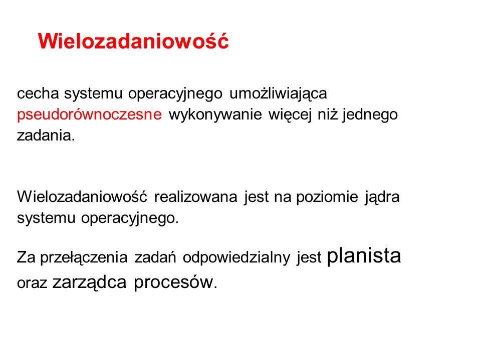 Wielozadaniowość cecha systemu operacyjnego umożliwiająca pseudorównoczesne wykonywanie więcej niż jednego zadania. Wielozadaniowość realizowana jest