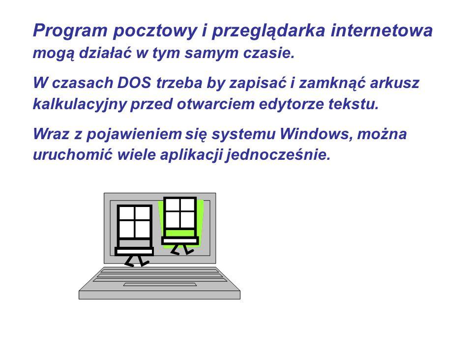 Program pocztowy i przeglądarka internetowa mogą działać w tym samym czasie. W czasach DOS trzeba by zapisać i zamknąć arkusz kalkulacyjny przed otwar