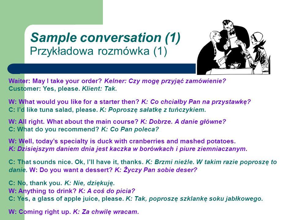 Sample conversation (1) Przykładowa rozmówka (1) Waiter: May I take your order.
