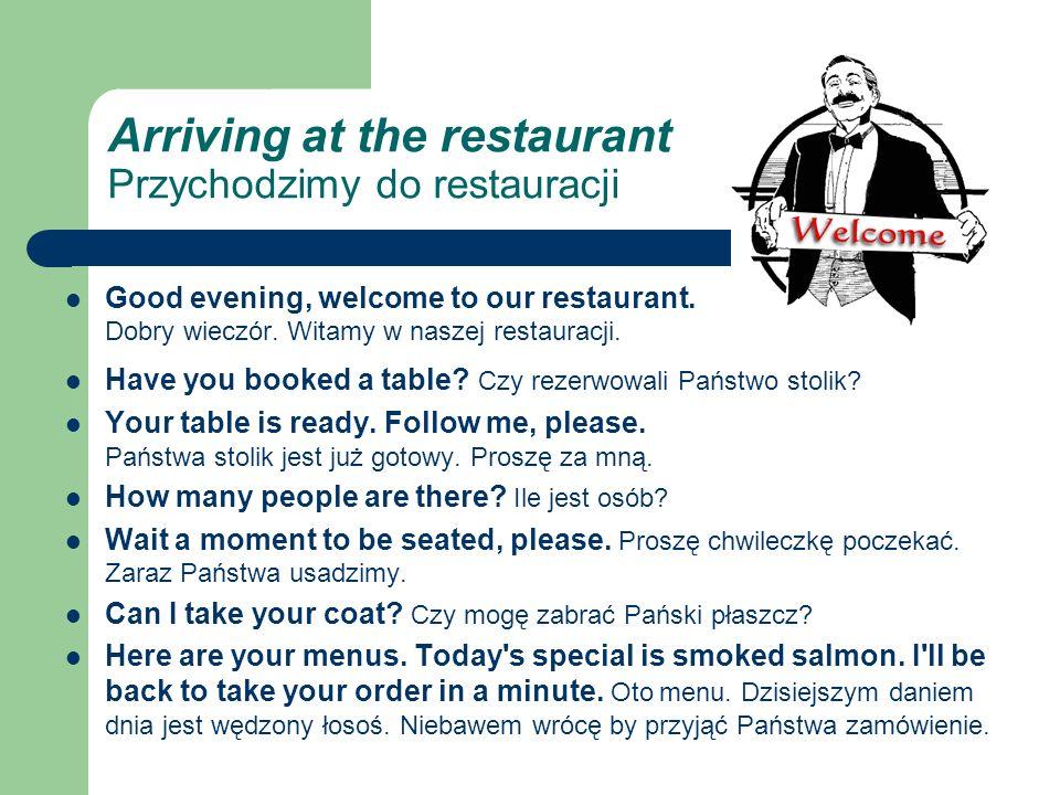 Arriving at the restaurant Przychodzimy do restauracji Good evening, welcome to our restaurant.