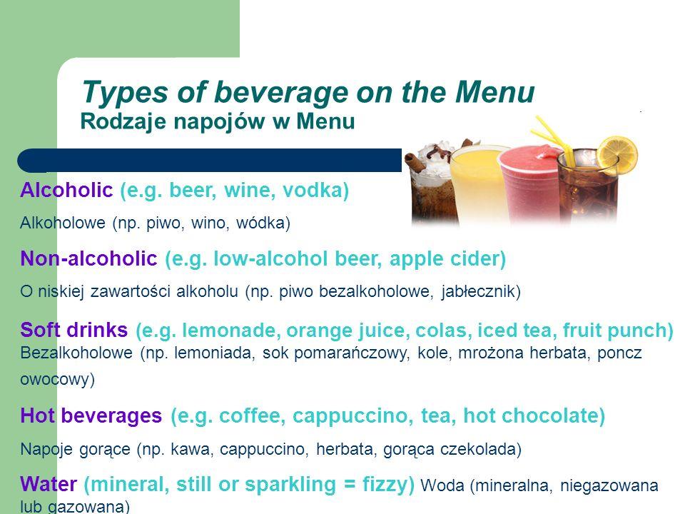 Types of beverage on the Menu Rodzaje napojów w Menu Alcoholic (e.g.