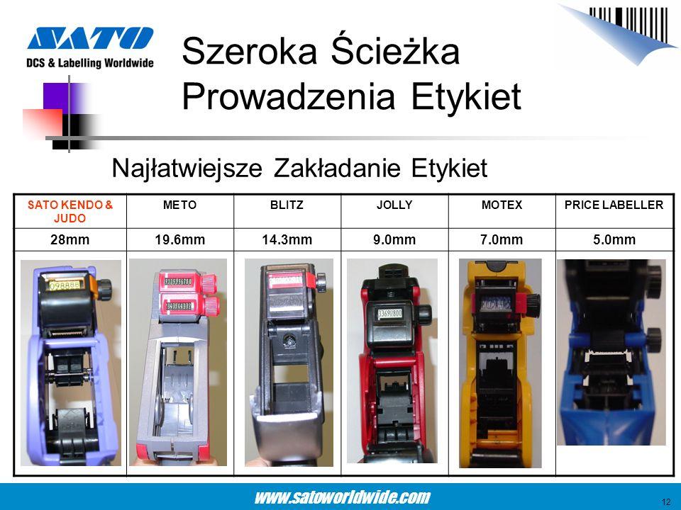 www.satoworldwide.com Szeroka Ścieżka Prowadzenia Etykiet SATO KENDO & JUDO METOBLITZJOLLYMOTEXPRICE LABELLER 28mm19.6mm14.3mm9.0mm7.0mm5.0mm 12 Najła