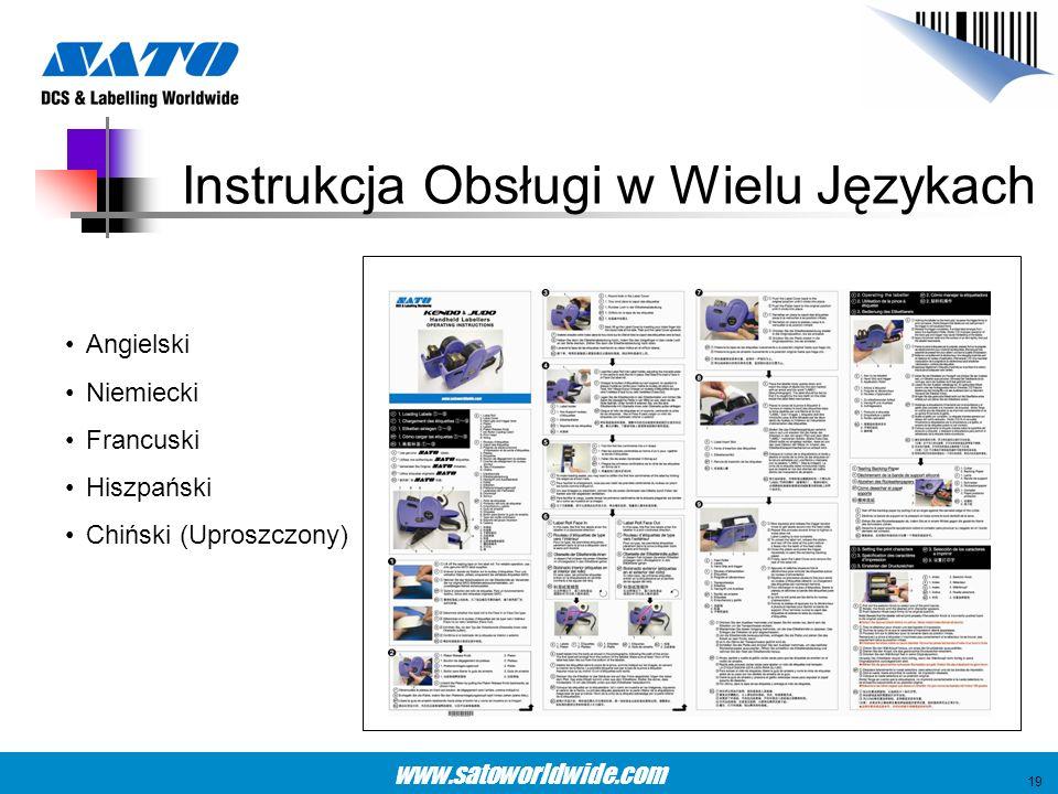 www.satoworldwide.com Instrukcja Obsługi w Wielu Językach Angielski Niemiecki Francuski Hiszpański Chiński (Uproszczony) 19