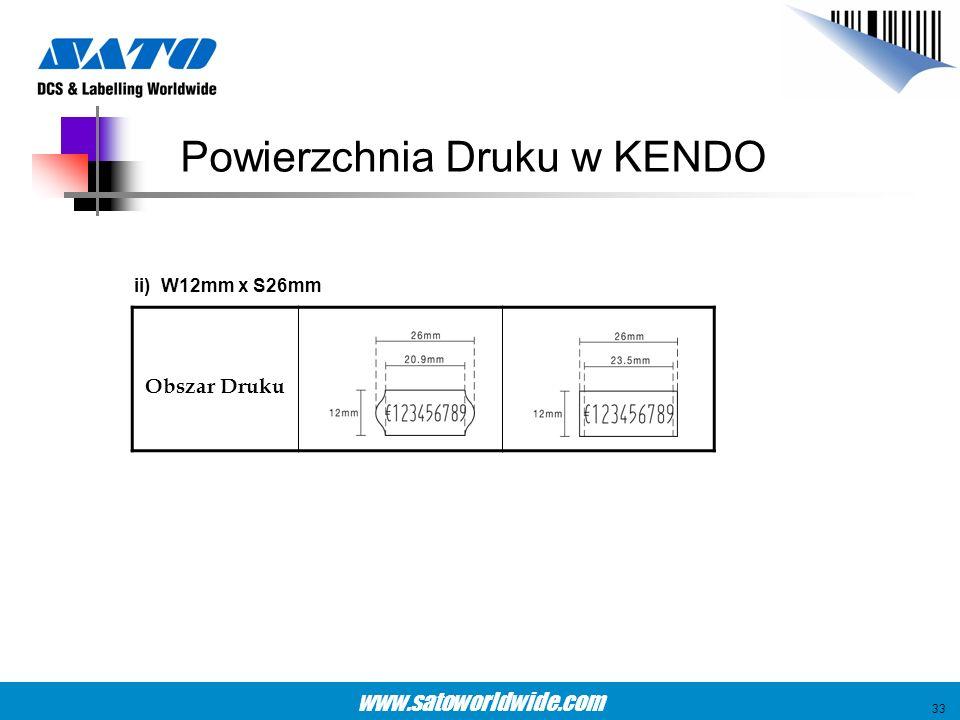 www.satoworldwide.com ii) W12mm x S26mm Obszar Druku Powierzchnia Druku w KENDO 33