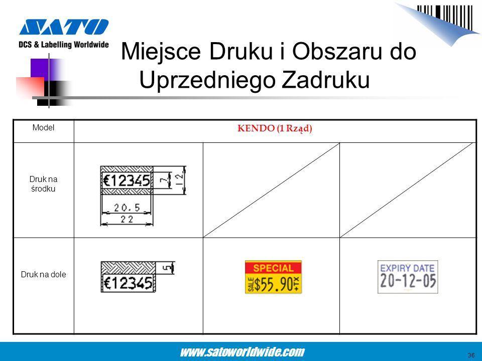 www.satoworldwide.com Miejsce Druku i Obszaru do Uprzedniego Zadruku Model KENDO (1 Rząd) Druk na środku Druk na dole 36