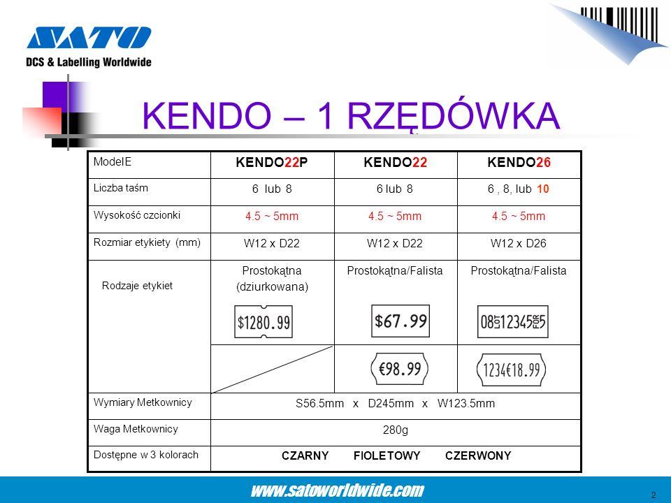 www.satoworldwide.com KENDO – 1 RZĘDÓWKA 4.5 ~ 5mm Wysokość czcionki W12 x D26W12 x D22 Rozmiar etykiety (mm) Prostokątna/Falista Prostokątna (dziurko