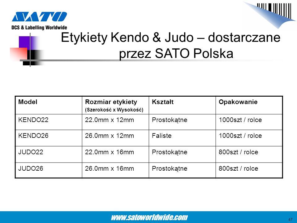 www.satoworldwide.com Etykiety Kendo & Judo – dostarczane przez SATO Polska ModelRozmiar etykiety (Szerokość x Wysokość) KształtOpakowanie KENDO2222.0
