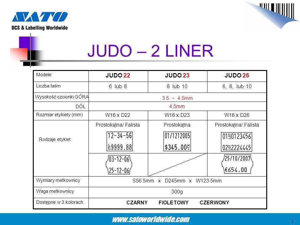 www.satoworldwide.com JUDO – 2 LINER 4.5mm DÓŁ 3.5 ~ 4.5mm Wysokość czcionki GÓRA W16 x D26W16 x D23W16 x D22 Rozmiar etykiety (mm) Prostokątna/ Falis