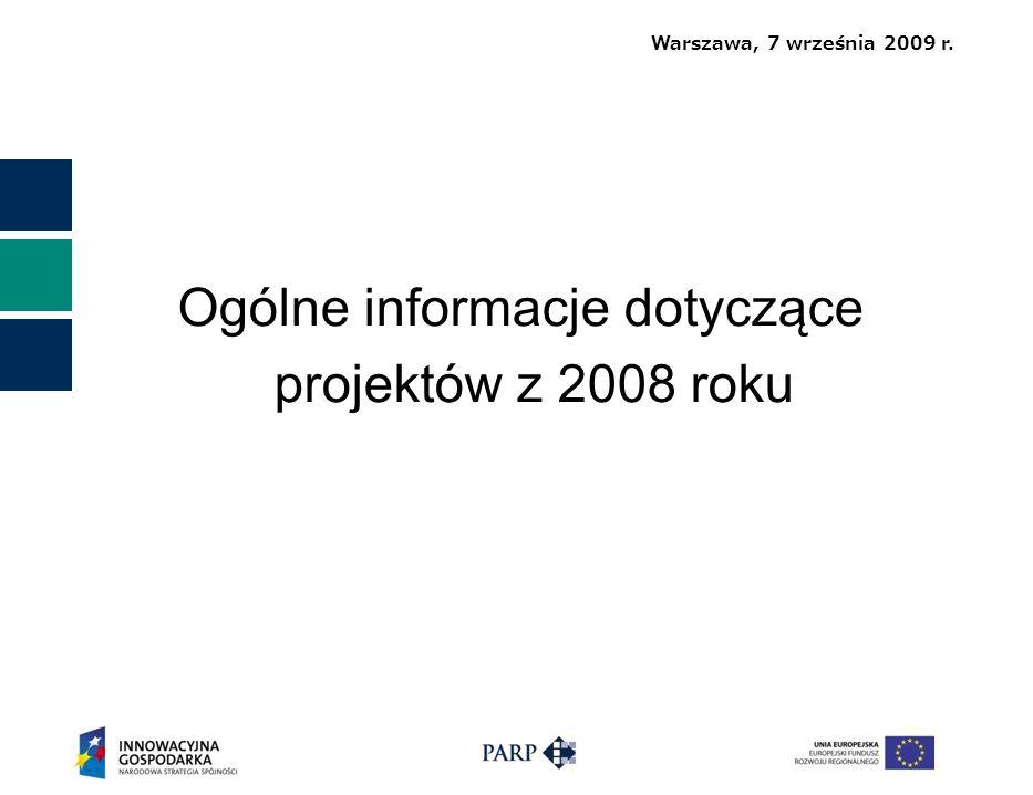 Warszawa, 7 września 2009 r. Ogólne informacje dotyczące projektów z 2008 roku
