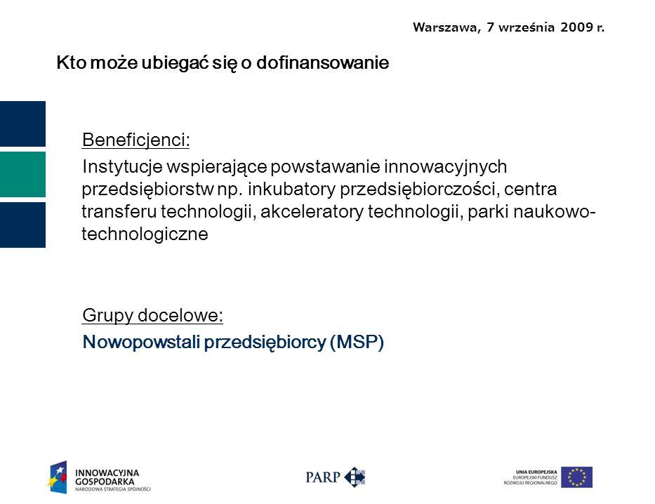 Warszawa, 7 września 2009 r.Dziękuję za uwagę Polska Agencja Rozwoju Przedsiębiorczości ul.