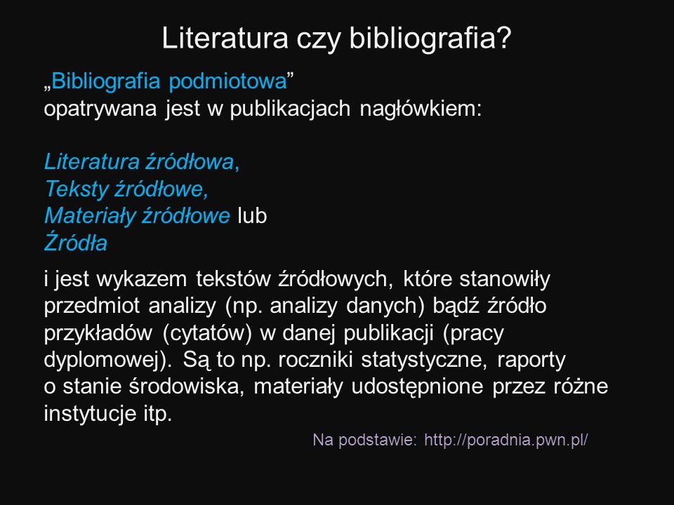 Bibliografia podmiotowa opatrywana jest w publikacjach nagłówkiem: Literatura źródłowa, Teksty źródłowe, Materiały źródłowe lub Źródła i jest wykazem