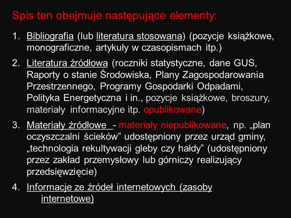 Spis ten obejmuje następujące elementy: 1.Bibliografia (lub literatura stosowana) (pozycje książkowe, monograficzne, artykuły w czasopismach itp.) 2.L