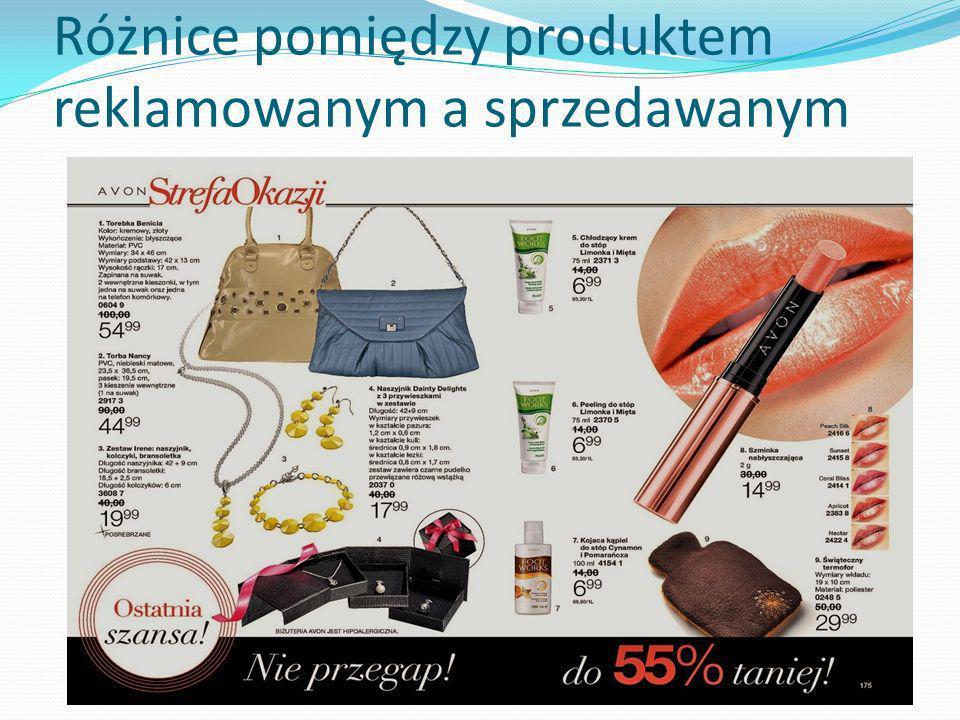 Różnice pomiędzy produktem reklamowanym a sprzedawanym