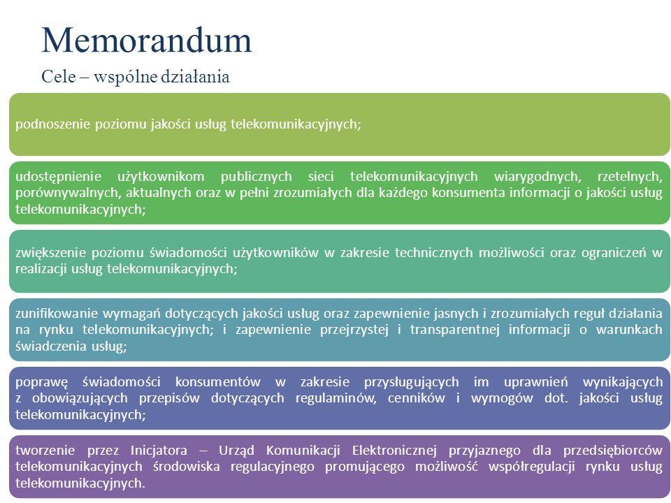 Memorandum Cele – wspólne działania podnoszenie poziomu jakości usług telekomunikacyjnych; udostępnienie użytkownikom publicznych sieci telekomunikacy