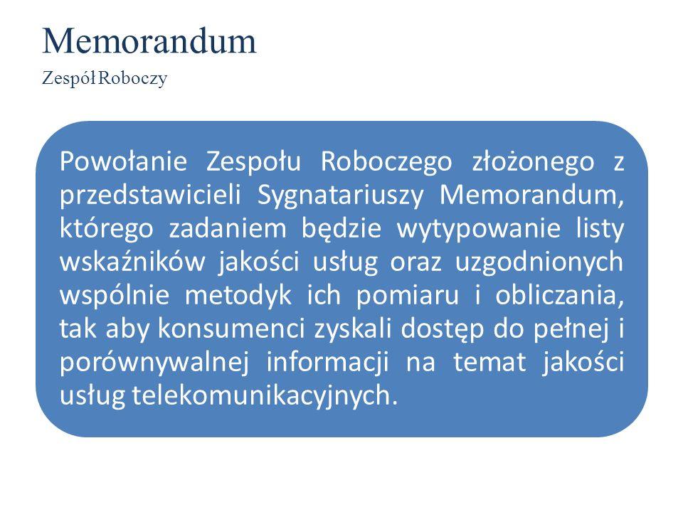 Memorandum Zespół Roboczy Powołanie Zespołu Roboczego złożonego z przedstawicieli Sygnatariuszy Memorandum, którego zadaniem będzie wytypowanie listy