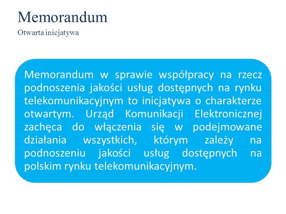 Memorandum Otwarta inicjatywa Memorandum w sprawie współpracy na rzecz podnoszenia jakości usług dostępnych na rynku telekomunikacyjnym to inicjatywa