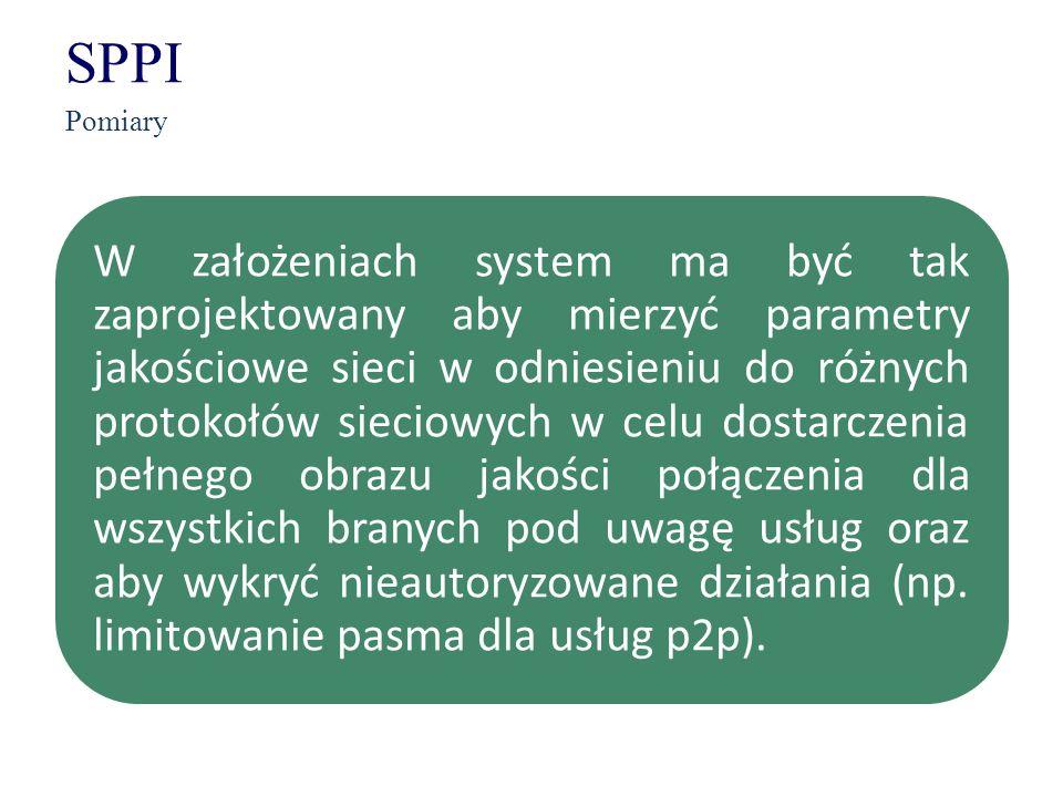 SPPI Pomiary W założeniach system ma być tak zaprojektowany aby mierzyć parametry jakościowe sieci w odniesieniu do różnych protokołów sieciowych w ce