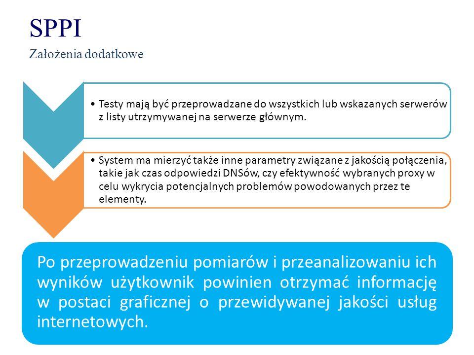 SPPI Założenia dodatkowe Testy mają być przeprowadzane do wszystkich lub wskazanych serwerów z listy utrzymywanej na serwerze głównym. System ma mierz