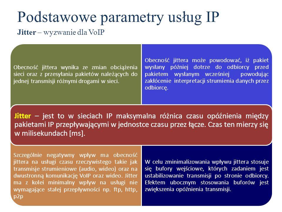 Obecność jittera wynika ze zmian obciążenia sieci oraz z przesyłania pakietów należących do jednej transmisji różnymi drogami w sieci. Obecność jitter