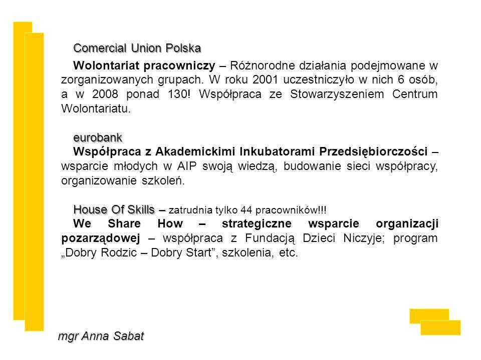 mgr Anna Sabat Comercial Union Polska Wolontariat pracowniczy – Różnorodne działania podejmowane w zorganizowanych grupach. W roku 2001 uczestniczyło