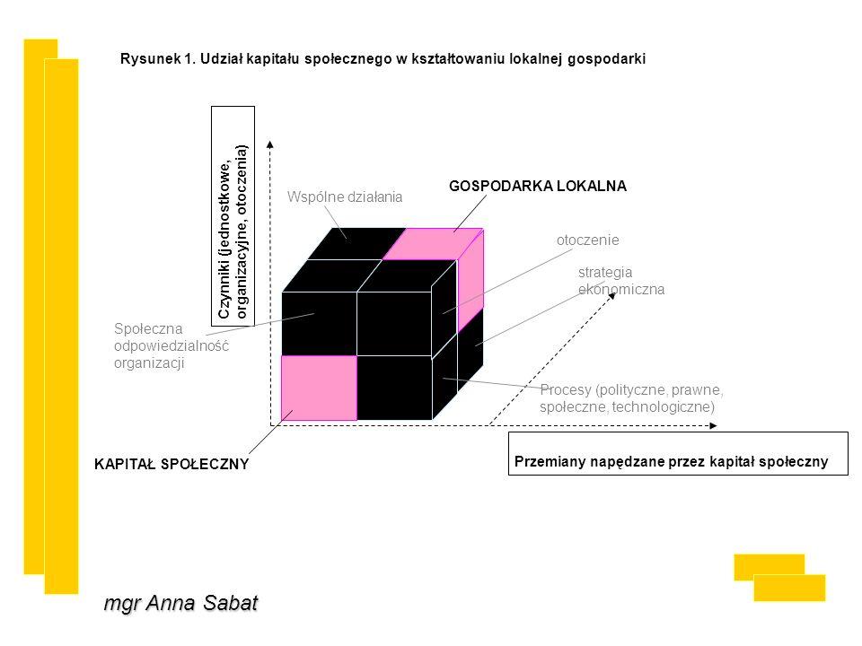 mgr Anna Sabat Rysunek 1. Udział kapitału społecznego w kształtowaniu lokalnej gospodarki Czynniki (jednostkowe, organizacyjne, otoczenia) GOSPODARKA