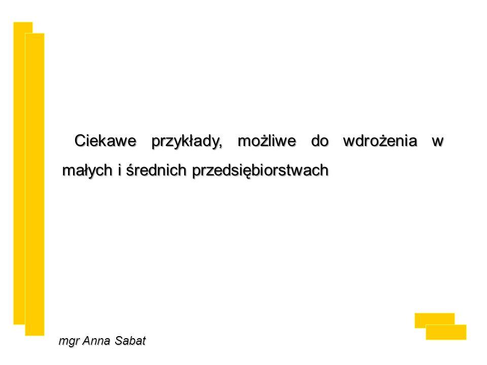 mgr Anna Sabat Ciekawe przykłady, możliwe do wdrożenia w małych i średnich przedsiębiorstwach